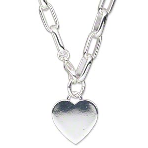 chain, silver-plated steel and brass, 19x19mm heart, 16-inch link chain with lobster claw clasp. sold individually.