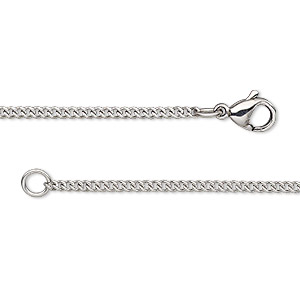chain, stainless steel, 1.7mm curb, 24 inches with lobster claw clasp. sold individually.