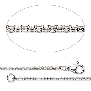 chain, steel and stainless steel, 2.4x1.8mm flat oval cable, 24 inches with lobster claw clasp. sold individually.