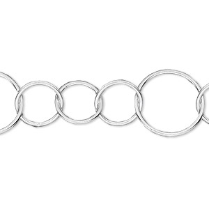 chain, sterling silver, 10mm and 15mm round link. sold per pkg of 5 feet.