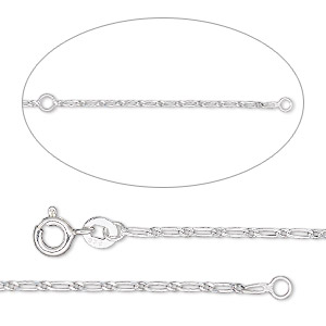 chain, sterling silver, 1.3mm figaro, adjustable at 16 and 18 inches with springring clasp, sold individually.