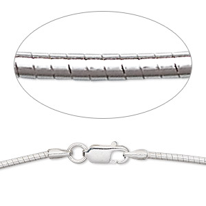 chain, sterling silver, 1.5mm round omega, 18 inches with lobster claw clasp. sold individually.