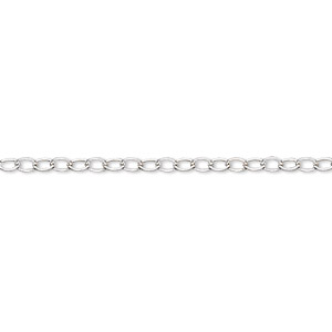 chain, sterling silver, 1.6mm light cable. sold per pkg of 5 feet.