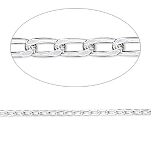 chain, sterling silver, 1.7mm diamond-cut long curb, 6-1/2 inches. sold individually.