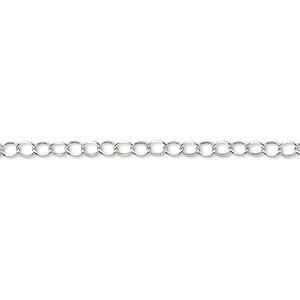 chain, sterling silver, 2.5mm rolo. sold per pkg of 5 feet.