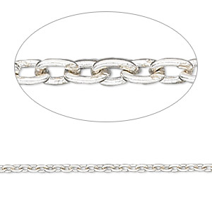 chain, sterling silver, 2mm cable. sold per pkg of 5 feet.