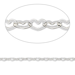 chain, sterling silver, 2mm flat heart. sold per pkg of 5 feet.