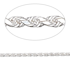 chain, sterling silver, 2mm french rope, 30 inches. sold individually.