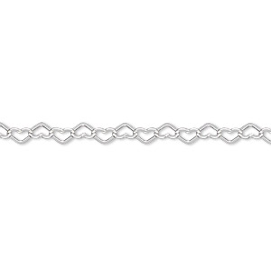 chain, sterling silver, 3.5mm flat heart cable, 7-1/4 inches with lobster claw clasp. sold individually.