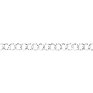 chain, sterling silver, 3.5mm round cable. sold per 5-foot spool.