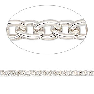chain, sterling silver, 3.6mm flat cable. sold per pkg of 5 feet.