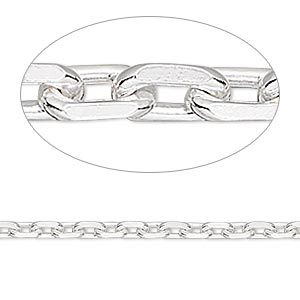 chain, sterling silver, 3mm oval cable. sold per pkg of 5 feet.