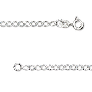 chain, sterling silver, 4x3mm curb, 18 inches with springring clasp. sold individually.