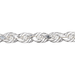 chain, sterling silver, 6mm diamond-cut french rope, 7 inches. sold individually.