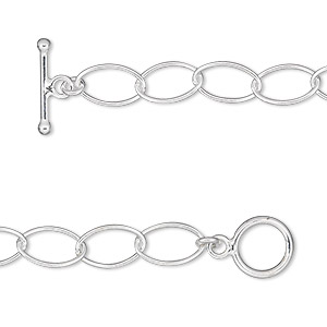 chain, sterling silver, 6mm oval cable, 7 inches with toggle clasp. sold individually.
