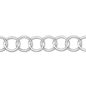 chain, sterling silver, 8.5mm round cable. sold per pkg of 5 feet.