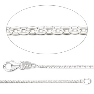 chain, sterling silver-filled, 1.5mm flat cable, 18 inches with lobster claw clasp. sold individually.