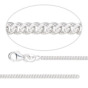 chain, sterling silver-filled, 1.7mm curb. sold per 50-foot spool.