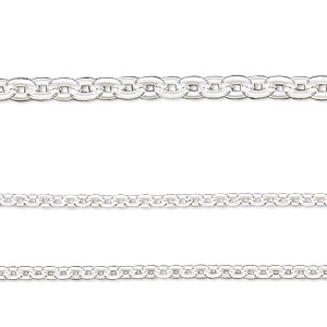 chain, sterling silver-filled, 2.25mm flat cable. sold per 50-foot spool.