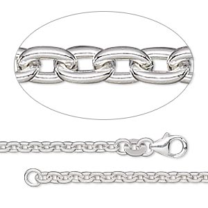 chain, sterling silver-filled, 2.7mm cable, 18 inches with lobster claw clasp. sold individually.