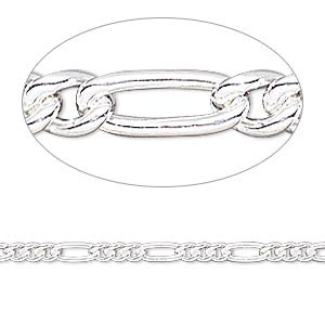 chain, sterling silver-filled, 2.7mm figaro. sold per 50-foot spool.