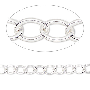 chain, sterling silver-filled, 6.8x5mm cable. sold per pkg of 5 feet.