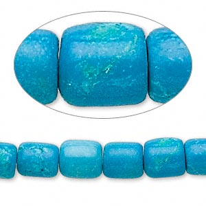 chalk turquoise drum beads, blue, 9x7mm. (stabilized/dyed) 15in strand.
