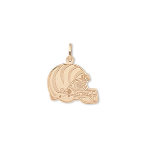 charm, 14kt gold, 14x13mm single-sided nfl cincinnati bengals helmet. sold individually.