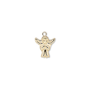 charm, 14kt gold-filled, 11x10mm single-sided angel. sold individually.