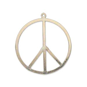 charm, 14kt gold-filled, 28mm flat peace sign. sold individually.