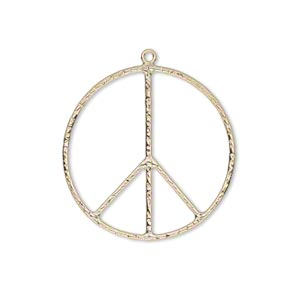 charm, 14kt gold-filled, 28mm textured peace sign. sold individually.