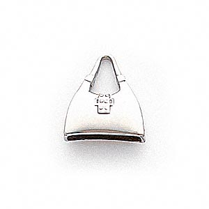 charm, 14ktw white gold, 14x13mm purse. sold individually.
