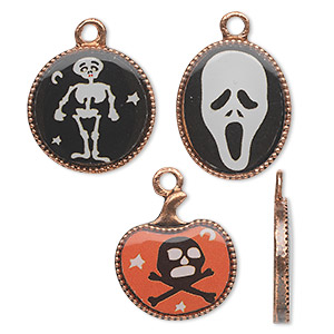 charm, acrylic and antique copper-finished pewter (zinc-based alloy), black / white / orange, 17mm flat round with skeleton / 18x15mm flat oval with ghost head / 17x16mm pumpkin with skull and crossbones. sold per 3-piece set.