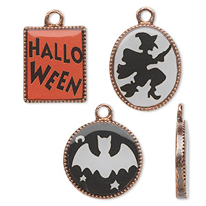 charm, acrylic and antique copper-finished pewter (zinc-based alloy), black / white / orange, 17mm flat round with bat / 18x15mm flat oval with witch / 16x14mm flat rectangle with halloween. sold per 3-piece set.