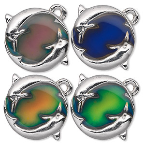 charm, acrylic and imitation rhodium-plated pewter (zinc-based alloy), multicolored, 29x23mm color-changing single-sided flat round with 2 dolphins. sold per pkg of 2.