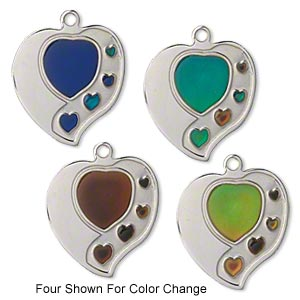charm, acrylic and imitation rhodium-plated pewter (zinc-based alloy), multicolored, 23x22mm color-changing single-sided heart. sold per pkg of 2.