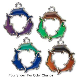 charm, acrylic and imitation rhodium-plated pewter (zinc-based alloy), multicolored, 24x23mm color-changing circle of 3 dolphins. sold per pkg of 2.