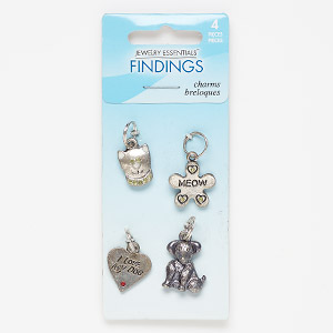 charm, acrylic with antique silver-finished steel and pewter (zinc-based alloy), light green and red, assorted single-sided shapes. sold per pkg of 4.
