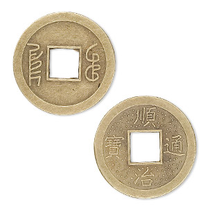 charm, antique brass-plated aluminum, 24mm chinese coin replica. sold per pkg of 20.