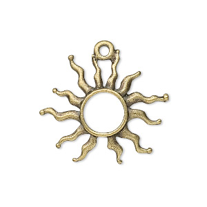 charm, antique brass-plated pewter (zinc-based alloy), 27x24mm fancy sun. sold per pkg of 10.