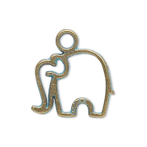 charm, antique copper-finished pewter (zinc-based alloy), green patina, 25.5x20.5mm single-sided open elephant. sold per pkg of 4.