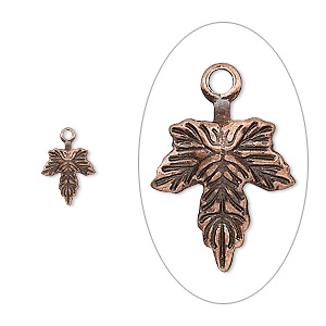 charm, antique copper-plated brass, 10x7mm leaf. sold per pkg of 100.