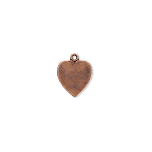charm, antique copper-plated brass, 11x10mm heart. sold per pkg of 10.
