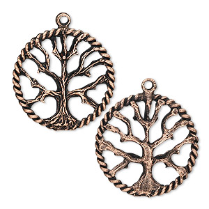 charm, antique copper-plated pewter (tin-based alloy), 22mm tree of life. sold per pkg of 2.