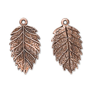 charm, antique copper-plated pewter (tin-based alloy), 23x15mm tanoak leaf. sold per pkg of 2.