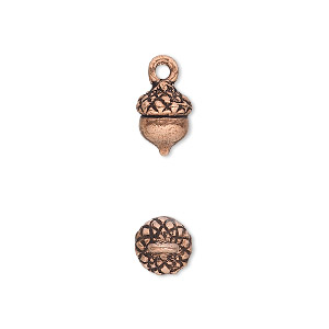 charm, antique copper-plated pewter (tin-based alloy), 9x8mm acorn. sold per pkg of 4.