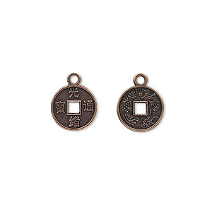 charm, antique copper-plated pewter (zinc-based alloy), 10mm chinese coin replica. sold per pkg of 50.