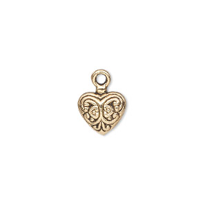 charm, antique gold-finished pewter (zinc-based alloy), 11x10mm single-sided fancy puffed heart. sold per pkg of 10.