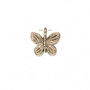 charm, antique gold-finished pewter (zinc-based alloy), 14x12mm double-sided butterfly. sold per pkg of 10.