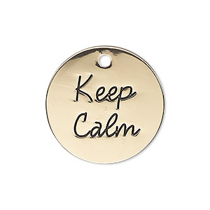 charm, antique gold-finished pewter (zinc-based alloy), 25mm single-sided flat round with keep calm. sold individually.